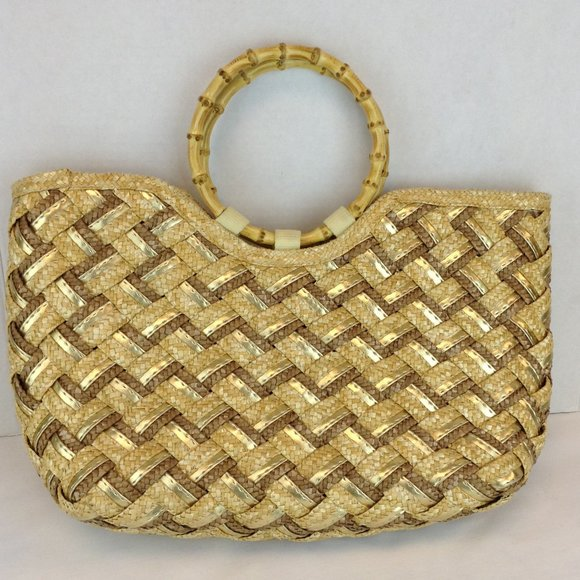 Straw & Faux Leather Handbag with Bamboo Handles
